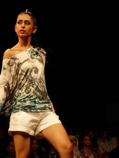 A model displaying Falguni and Shane Peacock's collection