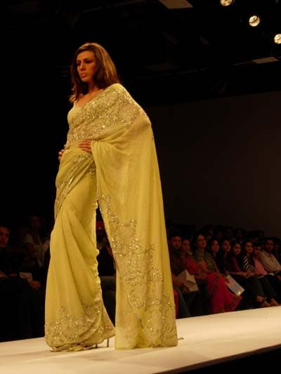 Yellow, peach and cream were the colour palette used by the designer duo