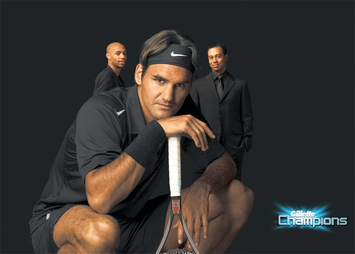 Federer endorses Gillette, Jura, a Swiss-based coffee machine company, as well as Mercedes Benz and NetJets. Federer also endorses Rolex watches, although he was previously an ambassador for Maurice Lacroix. Due to his endorsement of Gillette with fellow 'Gillette Champions' Tiger Woods and Thierry Henry, Federer's December 2009 ATP defeat was linked with Woods' car crash the day before, and the Thierry Henry handball controversy nine days before that, in a so-called 'curse of Gillette'. (Photo courtesy: Gillette)(Wikipedia)