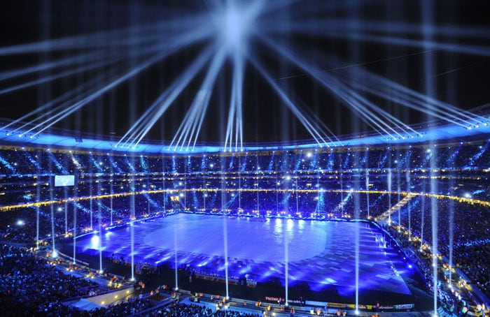 Soccer City Stadium lit during the closing ceremony prior to the 2010 World Cup football final. (AFP Photo)