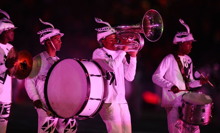 Musicians perform during the closing ceremony of the 2010 FIFA football World Cup. (AFP Photo)