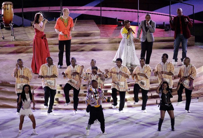 Artists perform during the closing ceremony ahead of the World Cup final match. (AP Photo)