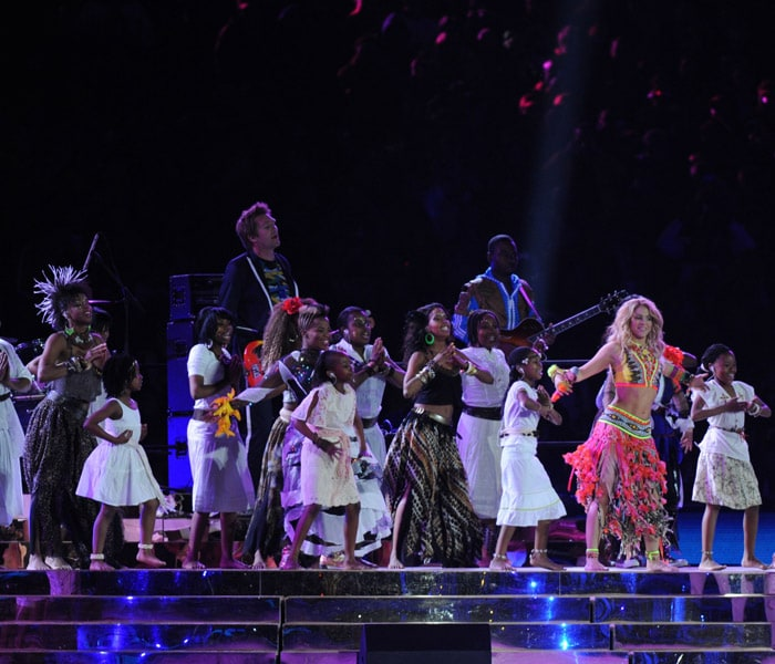 Shakira set the stage on fire with her electric performance. (AFP Photo)