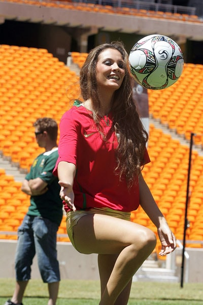 Miss Portugal in action at Soccer city stadium during a visit by the 112 Miss World contestants in Johannesburg. (AFP Photo)