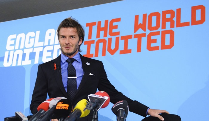 English football icon David Beckham during a press conference ahead of England's 2018 World Cup bid final presentation. (AFP Photo)