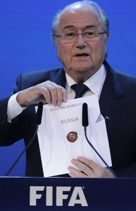 The bombshell conclusion to two years of frenzied lobbying saw world football supremo Sepp Blatter reveal the winners following a secret ballot of 22 FIFA executive committee members in Zurich.<br><br>The announcement means the World Cup will be staged in two countries which have never hosted the event before following the 2014 tournament in Brazil. (AFP Photo)