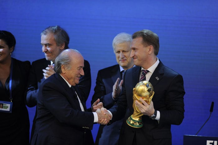 Russia prevailed in the 2018 race, upsetting England and joint bids from Spain and Portugal and Belgium and the Netherlands.<br><br>The outcome represented a stunning comeback for Russia, whose campaign had believed to be in trouble after Prime Minister Vladimir Putin declined to join the lobbying effort in Zurich. (AFP Photo)