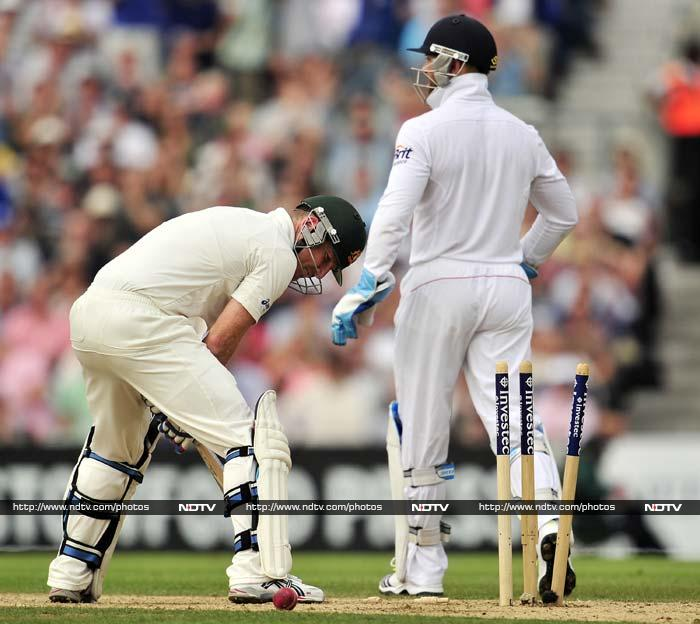 England did strike early on with Peter Siddle's dismissal, bowled by James Anderson to go past Bob Willis as second highest wicket-taker ever for the hosts.<br><br> Brad Haddin (seen bowled in the image) then added 65 with Steve Smith before getting out to Trott.
