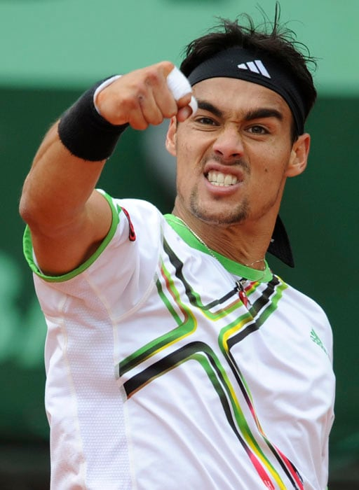 Italy's Fabio Fognini came back from a set down to beat Spain's Guillermo Garcia-Lopez in their third round match of the French Open. (AFP Photo)