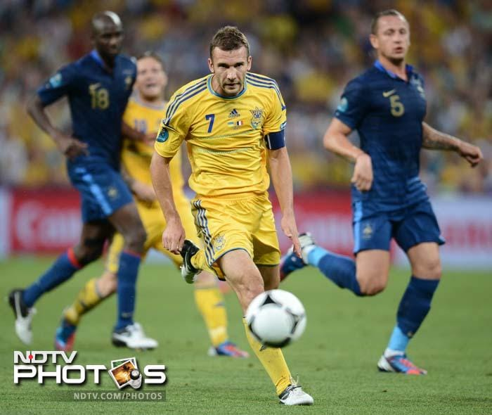 The arena shook with noise each time the ball came to Andrei Shevchenko, hero of the win against Sweden.