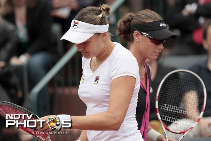 Petrova (left), a former world number three, had a 5-2 record against Stosur going into the match but she could not make it count this time.