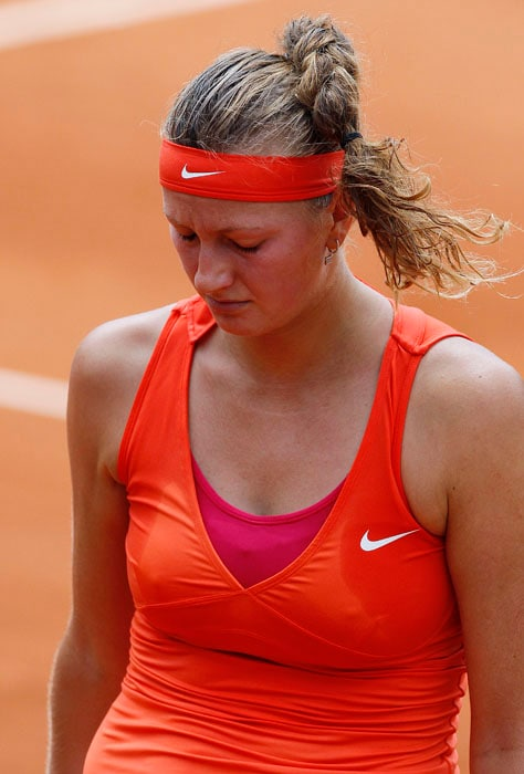 Petra Kvitova was left heartbroken after her fourth round loss to China's Li Na in the French Open tennis championship at the Roland Garros stadium. (AFP Photo)
