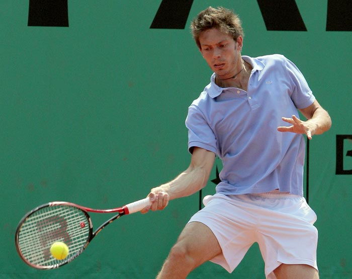 French player Nicolas Mahut plays during a training session at the Roland Garros stadium in Paris. (AFP Photo)