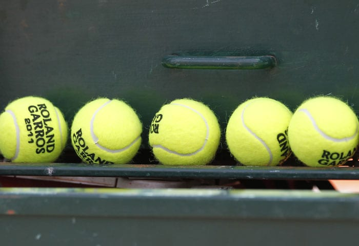 Tennis balls are seen during the French Open tennis championship at the Roland Garros stadium in Paris. (AFP Photo)