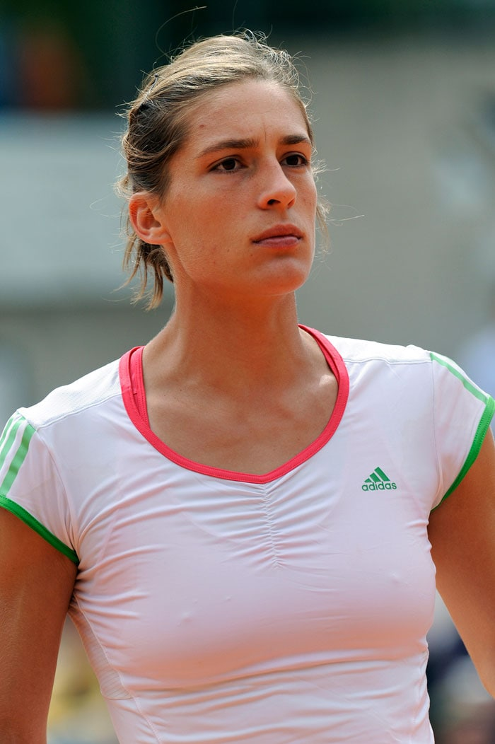 Germany's Andrea Petkovic reacts after a point against Czech Republic's Lucie Hradecka. (AFP Photo)