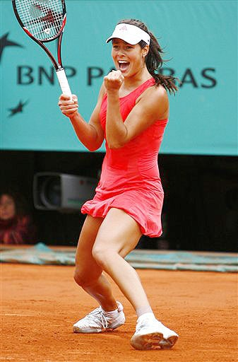 Serbia's Ana Ivanovic reacts as she defeats Switzerland's Patty Schnyder during their quarterfinal match of the French Open on June 3, 2008 at the Roland Garros stadium in Paris.