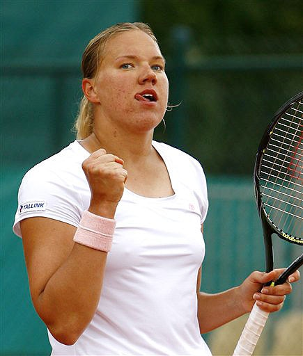 Estonia's Kaia Kanepi reacts as she plays Czech Republic's Petra Kvitova during their fourth round match of the French Open on June 3, 2008 at the Roland Garros stadium in Paris.