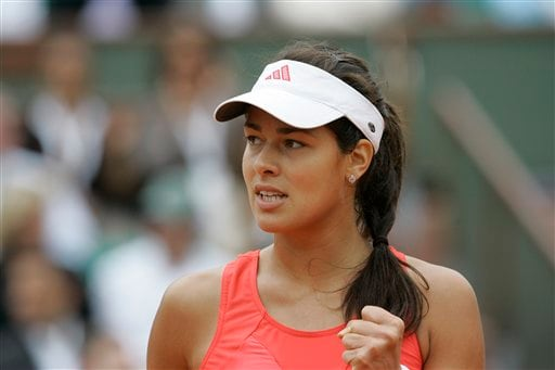 Serbia's Ana Ivanovic clenches her fist as she plays compatriot Jelena Jankovic during their semifinal match of the French Open tennis tournament on Thursday, June 5, 2008 at the Roland Garros stadium in Paris.