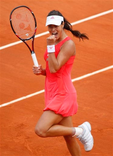 Serbia's Ana Ivanovic reacts shortly before defeating compatriot Jelena Jankovic during their semifinal match of the French Open tennis tournament on Thursday, June 5, 2008 at the Roland Garros stadium in Paris.