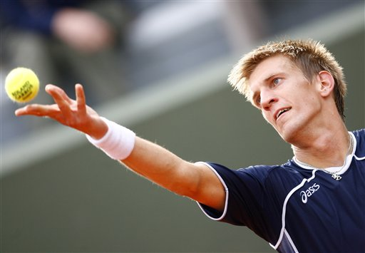 Finland's Jarkko Nieminen serves to Spain's Marc Lopez during their first round match of the French Open tennis tournament on Tuesday, May 27, 2008 at the Roland Garros stadium in Paris.