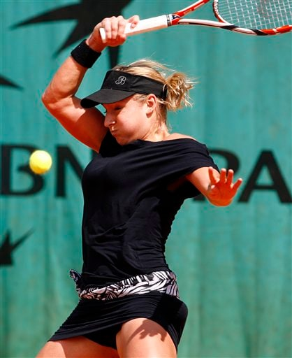 United States player Bethanie Mattek returns the ball to compatriot Madison Brengle during their first round match at the French Open tennis tournament in Paris on Wednesday May 28, 2008.