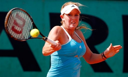 United States player Madison Brengle returns the ball to compatriot Bethanie Mattek during their first round match at the French Open tennis tournament in Paris on Wednesday May 28, 2008.