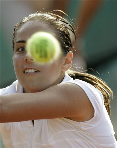 Croatia's Sanda Mamic eyes the ball as she plays Italy's Francesca Schiavone during their second round match of the French Open tennis tournament on Thursday May 29, 2008 at the Roland Garros stadium in Paris.