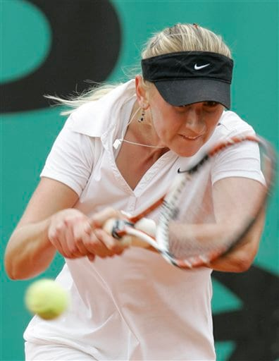 Belarus' Olga Govortsova returns the ball to Japan's Ai Sugiyama during their second round match at the French Open tennis tournament in Paris on Thursday May 29, 2008.
