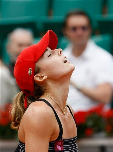 France's Alize Cornet reacts after winning her second round match against Argentina's Gisela Dulko during their second round match at the French Open tennis tournament in Paris on Thursday May 29, 2008.