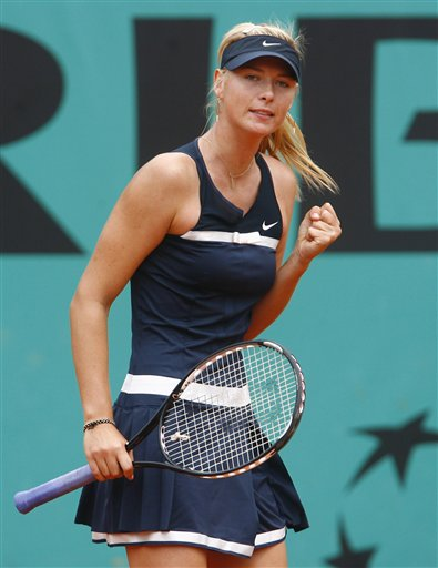 Russia's Maria Sharapova reacts as she plays Italy's Karin Knapp during their third round match of the French Open tennis tournament on Saturday May 31, 2008 at the Roland Garros stadium in Paris.