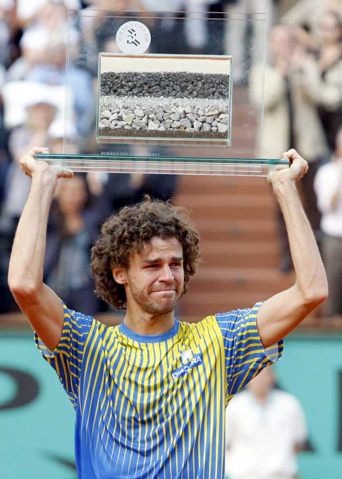 <b>Gustavo Kuerten</b><br><br> If you thought Brazil was not synonymous with tennis and probably had its association with bigger balls, then you would probably have to rethink courtesy this man. Gustavo Kuerten won 3 French Open titles, one of which came about by beating double ex champion Sergi Brugueera.