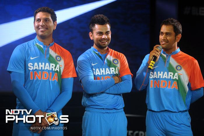 """Mahendra Singh Dhoni was welcoming of the new shirt. """"It's a very good start. Even when people are swapping between channels on television they see white and know that it's Test cricket,"""" he said. """"Now there will be a strong association between this jersey and T20 cricket."""""""