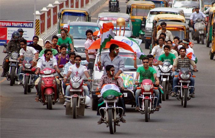 Madness overpowering Agartala, cricket fans take out a motorcycle rally to extend their wishes to the men in blue.