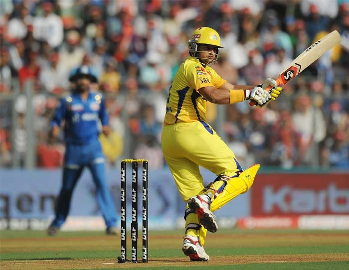Suresh Raina did continue the good work that Vijay had initiated before his dismissal. His 36 off 21 made sure that Chennai maintained the momentum for the big hitters to capitalise upon. (AFP PHOTO/Punit PARANJPE)