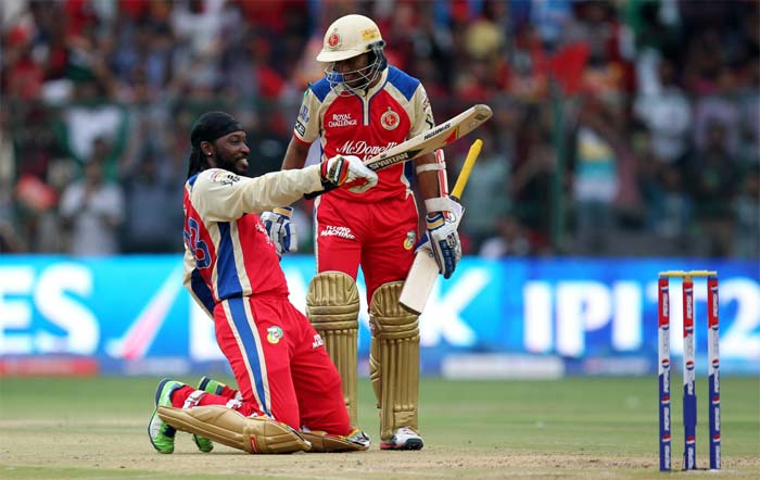Royal Challengers Bangalore posted a record 263 against Pune and one man was at the forefront of spearheading the batting carnage - Chris Henry Gayle!<br><br>The Jamaican slammed the fastest ton ever scored in domestic T20 match played anywhere and remained unbeaten on 175. (BCCI image)