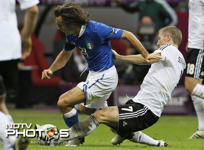 Dubbed as a battle between the creative prowess of Italy's Andrea Pirlo and Germany's Bastian Schweinsteiger, it turned out to be a one-sided affair.