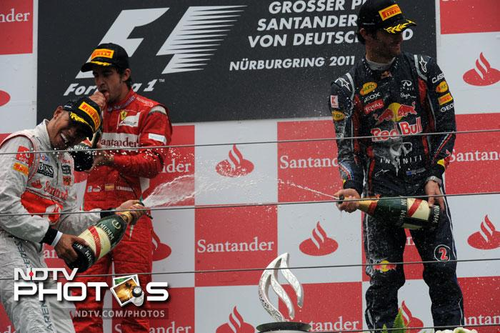 Hamilton was followed by Ferrari's Fernando Alonso and Red Bull's Mark Webber though Webber had begun the race from the pole position.