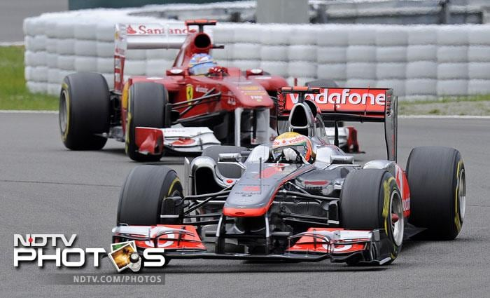 Hamilton though, managed to move past Webber from the starting line and maintained his position.