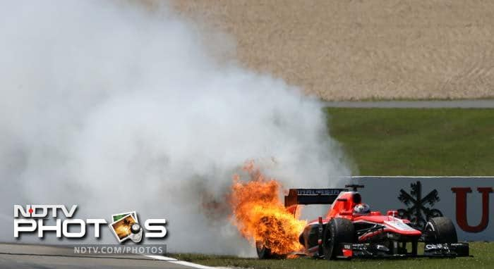 Jules Bianchi's Marussia, after an engine failure-induced fire, rolled without the driver in it across the circuit, triggering the safety car.