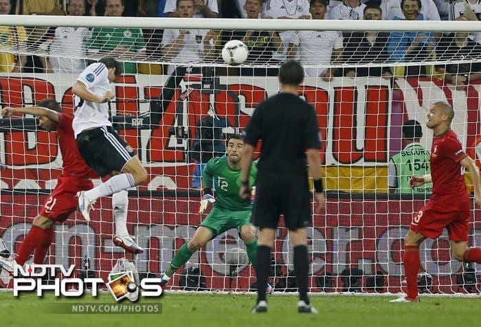 A second-half header from striker Mario Gomez was enough to give Germany a 1-0 win over Portugal on Saturday in their opening Euro 2012 match.