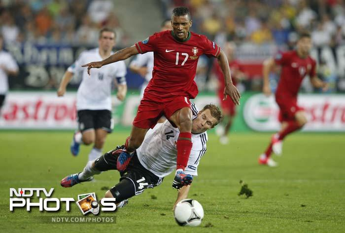 Nani hit the crossbar in the 84th minute, the second time Portugal struck the frame in the match.