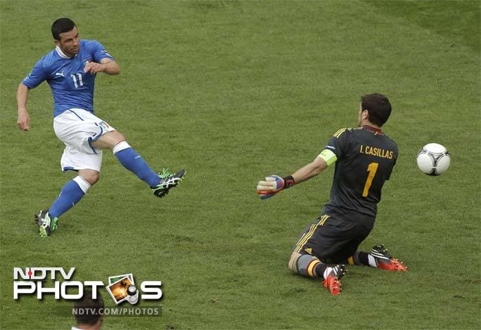 DI NATALE's TRICK<br><br>Antonio Di Natale's chip past Iker Casillas in the 61st minute of their opening Group C match on June 10 wasn't the prettiest goal of Euro 2012, but it's a top five pick for its rarity.