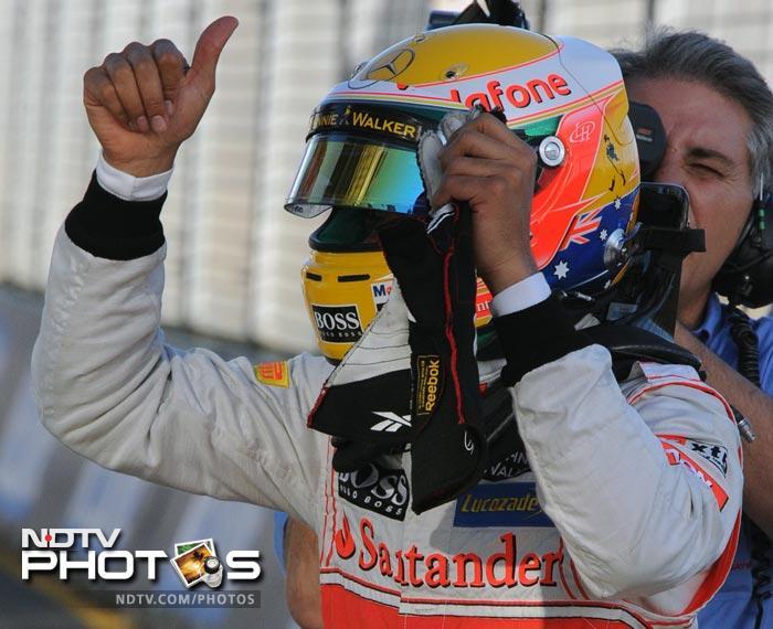Hamilton was faster than teammate Jenson Button and Lotus driver Romain Grosjean.