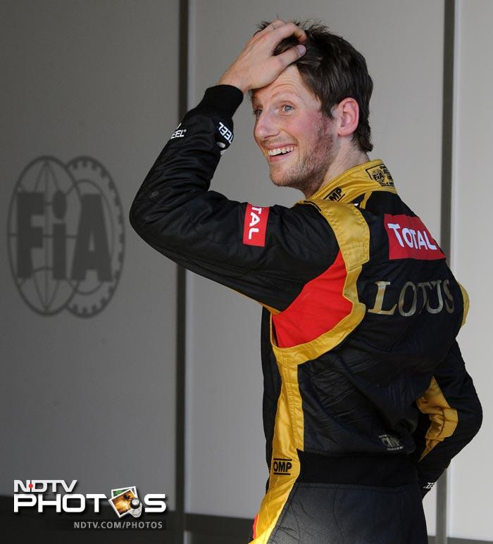 Romain Grosjean of Team Lotus finished third but it was a good effort by him as he gave Hamilton a run for his money.
