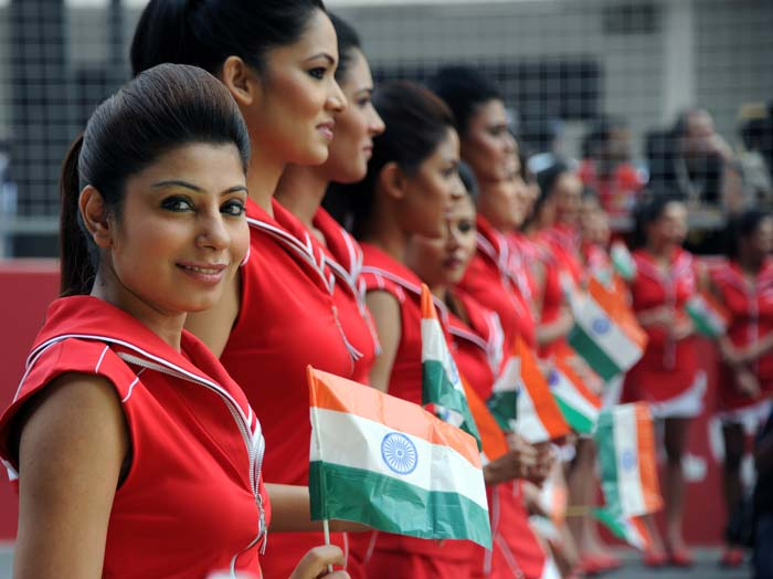 The Indian flag was prominently displayed by these women. A sign of India's blend of culture, beauty and modernity, perhaps.