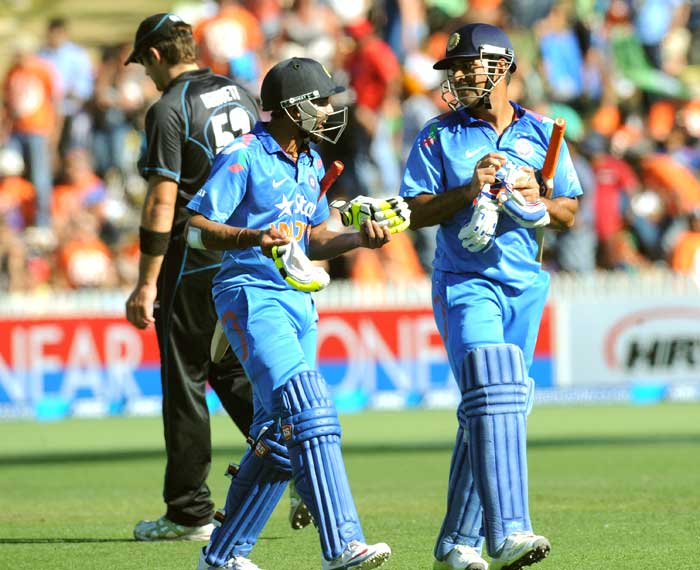 Mahendra Singh Dhoni and Ravindra Jadeja shared a quick-fire 127-run partnership for the 6th wicket to help India register 278/5 in the must-win fourth ODI at Seddon Park, Hamilton.