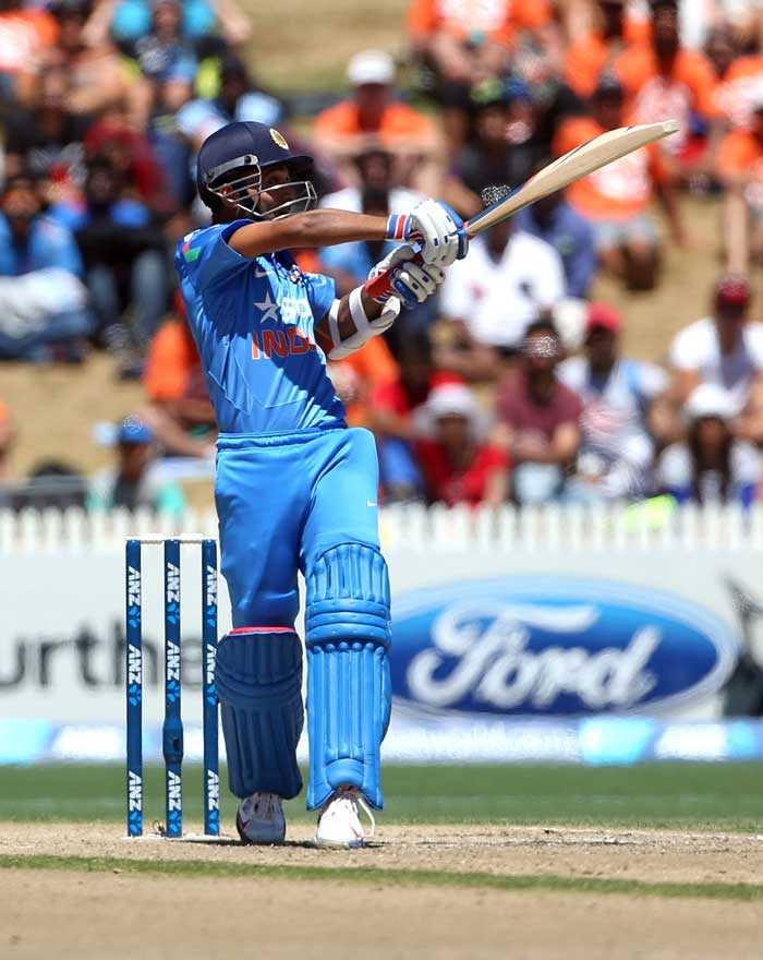 Ajinkya Rahane, sent in to bat at No.3, too failed to get going and was dismissed for 3.