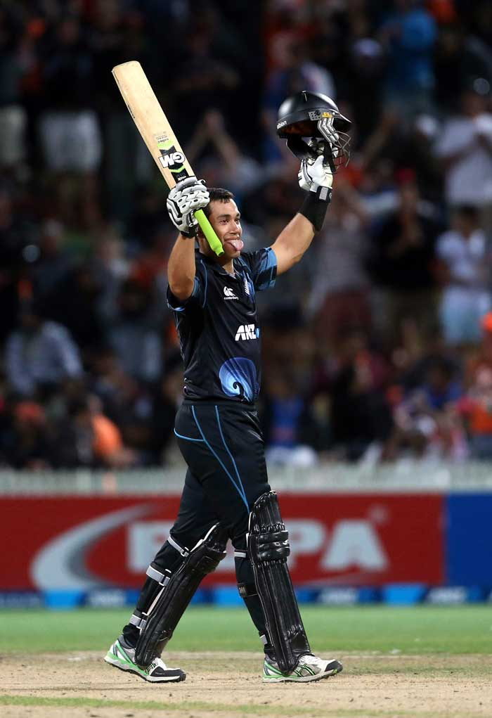 Ross Taylor scored his 9th hundred to help New Zealand beat India by 7 wickets in the fourth ODI to help his side claim the series with an unassailable 3-0 lead in the 5-match series. (All images from AP and AFP)