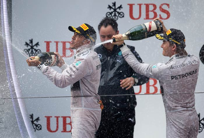 Mercedes had double the fun as Nico Rosberg (right) finished the race second.