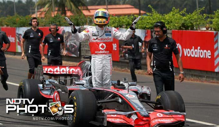 A huge crowd gathered on the Bangalore-Mysore highway to get a glimpse of the Briton. Hamilton was all too kind in acknowledging the cheer he received from the fans.